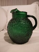 Anchor Hocking Milano Forest Green 96 oz. Pitcher Vintage Glass