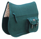 Horse English Quilted Fleece All-Purpose Saddle Pad with Pockets Green 7290