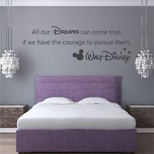 "Walt Disney ""All our Dreams"" Vinyl Wall Art Quote Decal Sticker Mickey - WQB29"