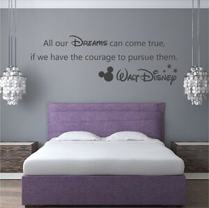 """Walt Disney """"All our Dreams"""" Vinyl Wall Art Quote Decal Sticker Mickey Adhesive"""