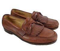 Allen Edmonds Danforth Kilted Tassel Loafer Shoe Brown Pebble Leather 9.5 D