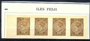 FIJI  FOURNIER FORGERY AFFIXED TO PAGE  4 x 1 SHILLING  NO GUM  MARKED FAUX   @4