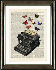 Antique Book page Art Print - Vintage Typewriter with Butterflies