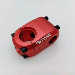 """TWIN DRIVE FULL CNC BMX BIKE STEM 22.2MMX43MMX1-1/8"""" Red"""