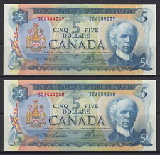 1972 BANK OF CANADA $5 DOLLAR SC6544239-40 LAWSON/BOUEY SEQUENCE UNC NOTES