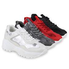 Damen Plateau Sneaker Glitzer Turnschuhe Metallic Plateauschuhe 824387 Schuhe