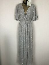 ASOS SEQUIN MAXI VINTAGE KIMONO RED CARPET GATSBY FLAPPER EVENING DRESS GOWN  14