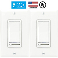 2 PACK LED DECORA DIMMER SWITCH, SINGLE POLE, 3-WAY DIMMER, LED/CFL BULBS, WHITE