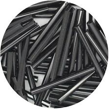 Czech Glass Bugle Beads 25mm ( 1 inch ) Black
