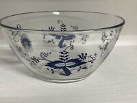 Vintage Clear Glass Pyrex? Blue Onion serving mixing bowl