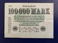 GERMANY - 100 000 MARK  BANKNOTE 1923-BERLIN-INFLATION - VERY FINE