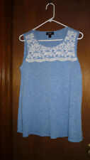 AGB WOMEN'S BLOUSE FRENCH BLUE WITH WHITE LACE SIZE LARGE NWOT