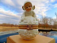 Trinket Box Cherub Baby Angel on Hinged Egg Ivory & Gold Formalities Baum Bros