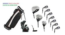 "TALL +2.0"" MENS LEFT HAND COMPLETE GOLF CLUB SET wBAG+DRIVER+5-9 IRONS+PW+PUTTER"