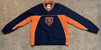 NWOT NFL Chicago Bears Men's Medium Blue Orange Pullover Windbreaker