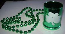 St. Patrick's Day Green Bead Necklace w Mini Shot Beer Mug Costume Jewelry
