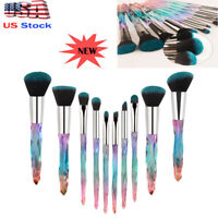 10Pcs Make Up Brush Crystal Handle Lip Powder Foundation Nice Soft Amazing Use