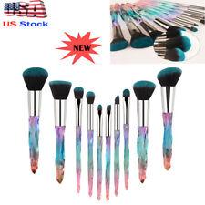 10Pcs Make Up Brush Crystal Handle Lip Powder Foundation Nice Soft Amazing Use