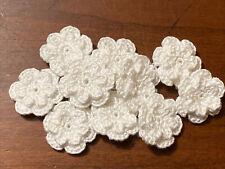 New listing 10 pc Handmade Crochet Mini Double Flowers Applique Embellishment - Snow White