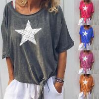 Plus Size Womens V Neck Star Tops Blouse Ladies Short Sleeve Summer Tie T-Shirt