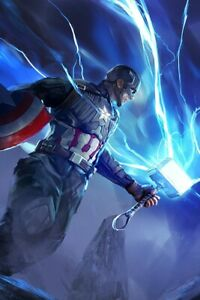 Captain America With Mjolnir Hammer Lightning Poster 24X36 inches