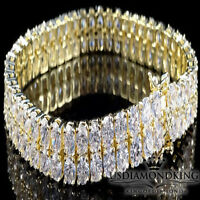 Men's Womens New 2 Row Lab Simulate Diamond Yellow Gold Finish Tennis Bracelet