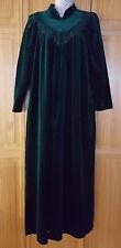 Vintage Velour Robe Emerald Green Komar Lace Rosette Detail Pockets Womens Small