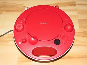 Sony CD Player AM/FM Radio ZS-E5 Red Audio System Portable Boombox Nice