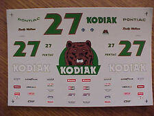 1986- 1987- 1988-1989 RUSTY WALLACE #27 KODIAK 1/24-1/25 WATER SLIDE DECAL SHEET
