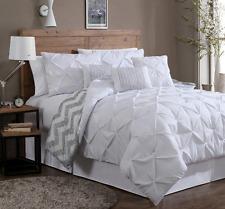 Bedding Queen Romantic Comforter Set White Luxury Home Bedspread Reversible 7 PC