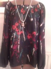 size 14 lovely black multi silky touch  top