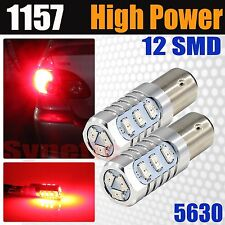 2x 1157 1076 2357 High Power 12-SMD Bright Red Brake Tail Stop LED Light Bulbs