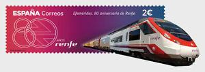 SPAIN 2021 RENFE 80TH ANNIV. RAIL TRAVEL IN SPAIN COMP. SET 1 ODD SHAPED STAMP