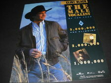 CLINT BLACK Male Vocalist Of The Year 1990 PROMO POSTER AD mint condition