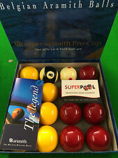 "BELGIAN ARAMITH PROCUP TOURNAMENT 2"" Pool Balls with 1""7/8 Cue Ball By SUPERPOOL"