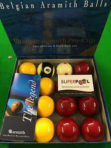 """BELGIAN ARAMITH PROCUP TOURNAMENT 2"""" Pool Balls with 1""""7/8 Cue Ball By SUPERPOOL"""