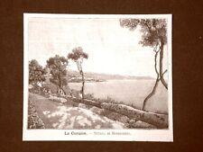 Incisione del 1891 La Cornice, strada di Bordighera - Liguria
