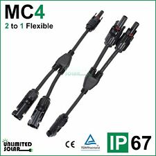 Unlimited Solar 2 to 1 Flexible Solar Panel MC4 Parallel Connector set - IP 67
