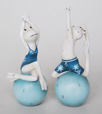 SET OF 2 YOGA BEACH FROGS STATUES ORNAMENTAL DECORATIVE , BRAND NEW