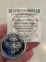 """2020 1 OZ Death Eagle Proof - Silver Shield .999 """"In-Hand"""" Collector Round"""