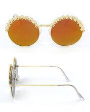 Women's Vintage Retro Flower Rim mirrored Sunglasses gold Maximum UV 400