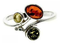 Multicoloured Baltic Amber 925 Sterling Silver Modern Design Ring Jewellery M720