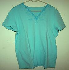 DENIM & CO. - Cap Sleeved Lt. Turquoise Top w/Embellished Neck - Sz XL - NWOT!