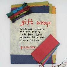 Handmade Lokta Khadi Paper Wrapping Blank Sheets Natural + Tags and String