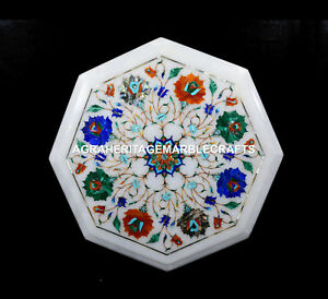 Marble Kitchen Side Table Top Marquetry Inlay Fine Stone Arts Patio Decor H5400