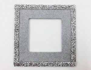Single Silver Glitter Crushed Diamond Plug Socket Light Switch Surround Plate
