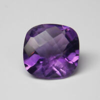 7mm CUSHION CHECKERBOARD DARK PURPLE AMETHYST LOOSE GEMSTONE