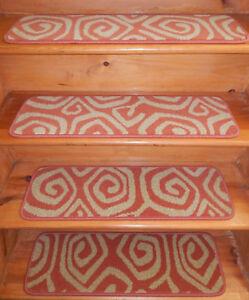 "13 Step  9"" x 30''  1 Landing 30"" x 30''  carpet Wool Woven Stair Treads"