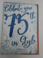 Celebrate your 75th in style Birthday card 75 seventy five Birthday card Glitzy