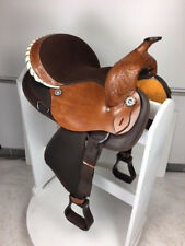 "14"" Inch New Western Semi Leather Synthetic Pleasure Trail Horse Saddle Brown"